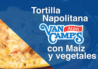 Tortilla napolitana de atun  van camp's  de maiz y vegetales