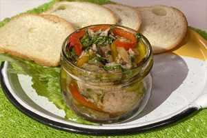 Antipasto de berenjenas y pimentón con atún en aceite de oliva finas hierbas Van Camp's