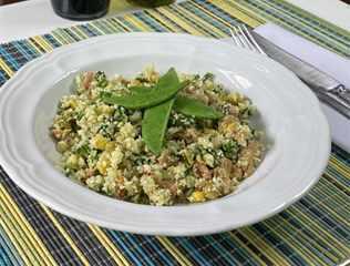 Granulado de coliflor con atún con maíz y vegetales Van Camp's